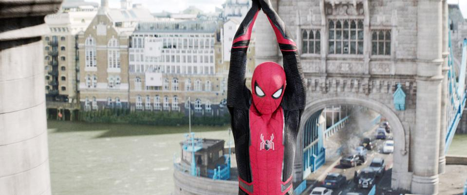 Tom Holland swings into action without Robert Downey Jr. in 'Spider-Man; Far From Home' (Photo: Columbia / © Marvel Studios/ Courtesy Everett Collection)