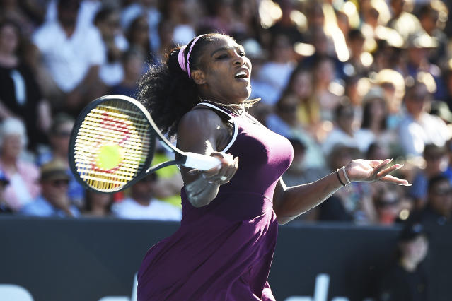 United States Serena Williams makes a return during her finals singles match against United States Jessica Pegula at the ASB Classic in Auckland, New Zealand, Sunday, Jan 12, 2020. (Chris Symes/Photosport via AP)