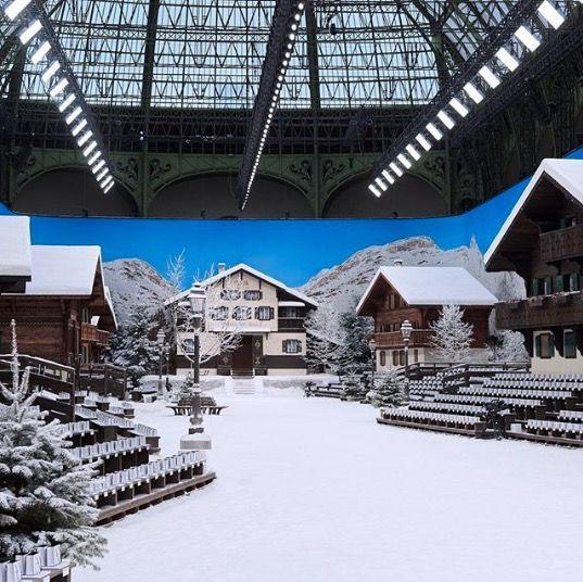 <p>For the final Chanel show under Karl Lagerfeld's creative direction the Grand Palais in Paris was transformed into an alpine winter wonderland Chanel called, 'Chalet Gardenia'. ELLE UK's Cat Callender, present for the momentous occasion said of the atmosphere, 'That crispness that you get in the mountains and the uplifting feel that you get skiing or in a snowy environment is what is going on here. It is sad, yes as this is a post Karl moment, but the feeling in here is uplifting and light.'</p>