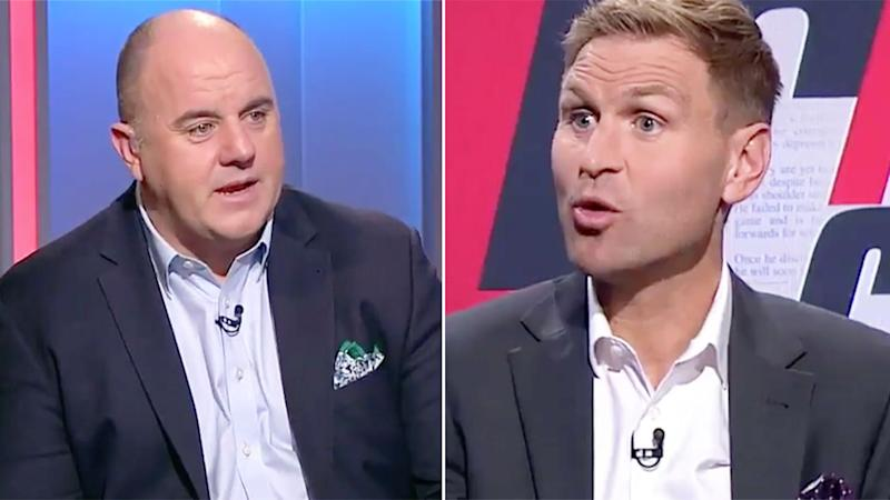 Pictured here, Footy Classified host Craig Hutchison and former AFL player Kane Cornes.