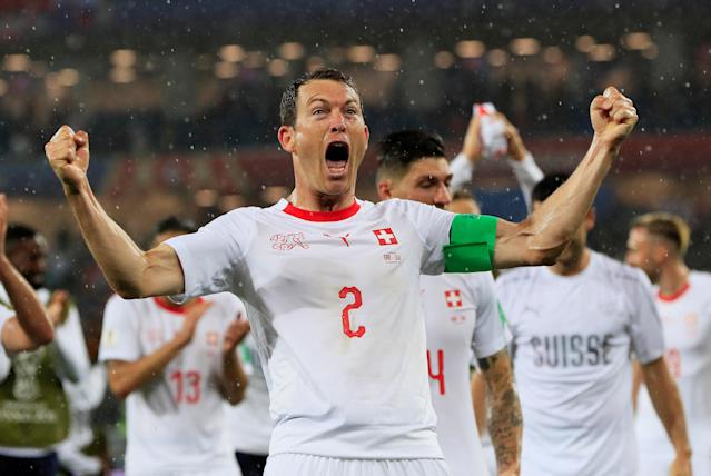 Soccer Football - World Cup - Group E - Serbia vs Switzerland - Kaliningrad Stadium, Kaliningrad, Russia - June 22, 2018 Switzerland's Stephan Lichtsteiner celebrates after the match REUTERS/Gonzalo Fuentes