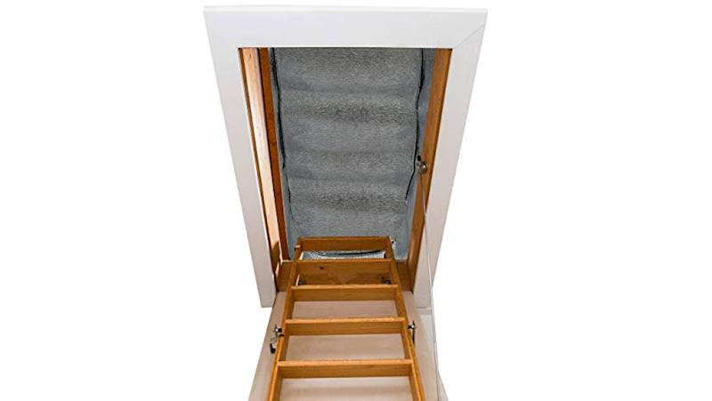 Rising heat can escape into your attic, creating meltwater on your roof instead of keeping you and your family warm—keep it contained with a stairway insulator.