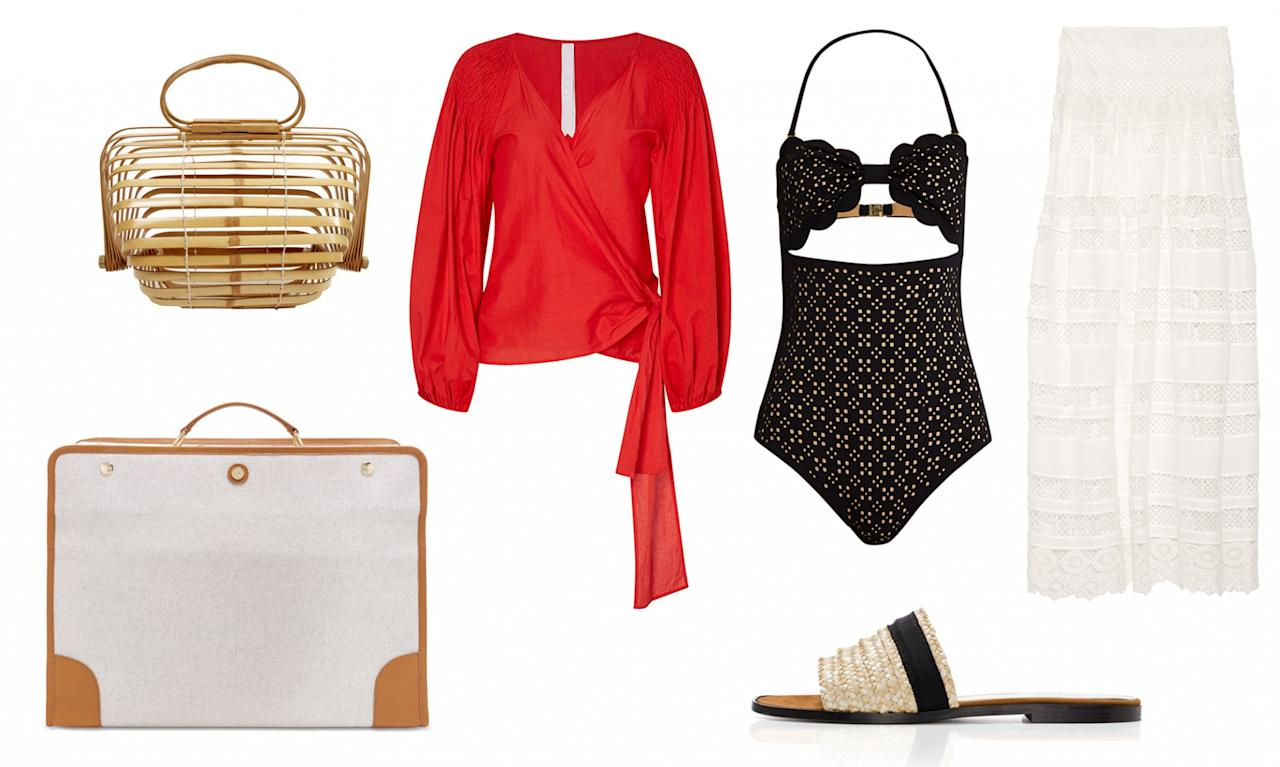 <p>When traveling to a warm beach destination you must always come equipped with a chic bathing suit, breathable blouse, and a skirt to layer on top and accessorize with a matching bag and slides, of course! </p>