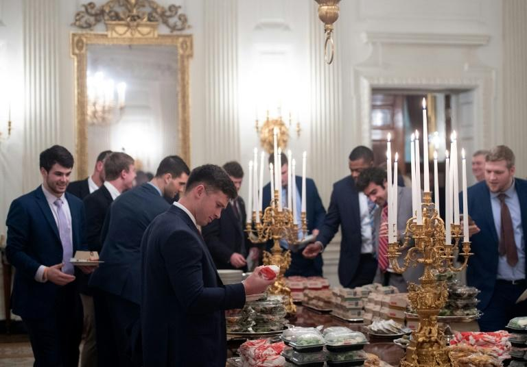Guests select fast food that Trump purchased