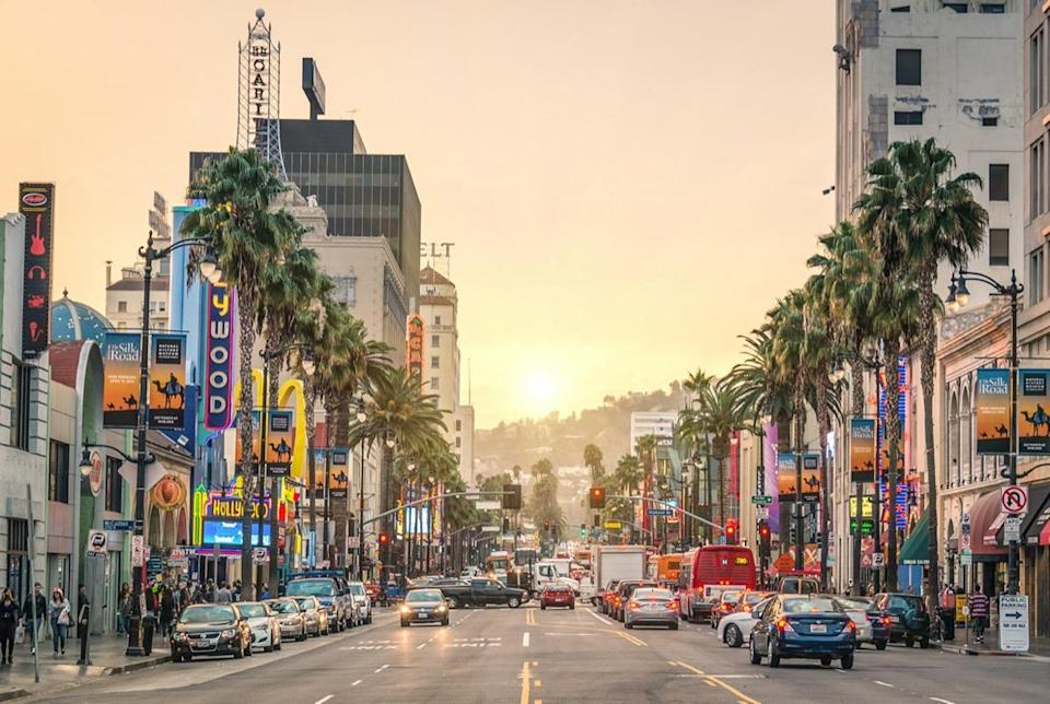 View of Hollywood Boulevard at sunset.