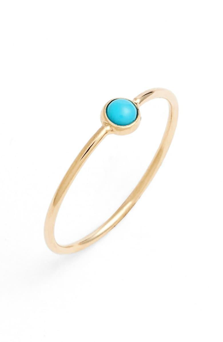 """<h3>Zoë Chicco 14K Gold Turquoise Stacking Ring</h3> <br><br>Keep your dainty rings from fading into the background by choosing bright, can't-be-missed stones — like this eye-catching polished turquoise set in 14K gold.<br><br><em>Shop fine jewelry at <strong><a href=""""https://www.nordstrom.com/browse/women/jewelry/fine"""" rel=""""nofollow noopener"""" target=""""_blank"""" data-ylk=""""slk:Nordstrom"""" class=""""link rapid-noclick-resp"""">Nordstrom</a></strong></em><br><br><strong>Zoë Chicco</strong> 14K Gold Turquoise Stacking Ring, $, available at <a href=""""https://go.skimresources.com/?id=30283X879131&url=https%3A%2F%2Fwww.nordstrom.com%2Fs%2Fzoe-chicco-turquoise-stacking-ring%2F4366312"""" rel=""""nofollow noopener"""" target=""""_blank"""" data-ylk=""""slk:Nordstrom"""" class=""""link rapid-noclick-resp"""">Nordstrom</a><br><br><br><br>"""