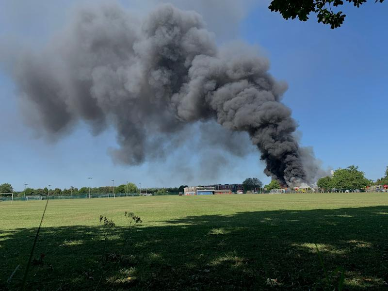 Plumes of smoke could be seen in the sky (PA)