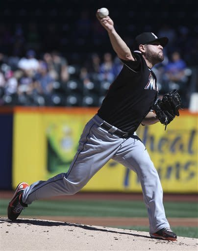 Miami Marlins starting pitcher Ricky Nolasco delivers during the first inning of the baseball game against the New York Mets, Sunday, Sept. 23, 2012, at Citi Field in New York. (AP Photo/Seth Wenig)