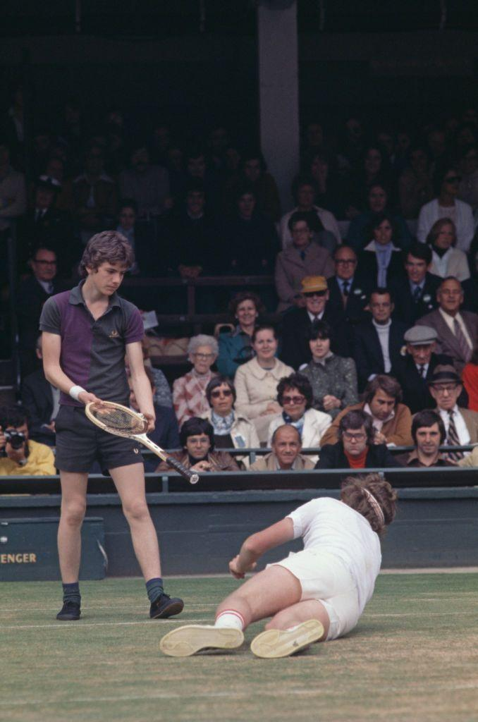 <p>One of the most coveted (not to mention, exclusive) summer jobs is working as a Wimbledon ball kid. Here, a ball boy returned John McEnroe's racket to him after he took a tumble. </p>