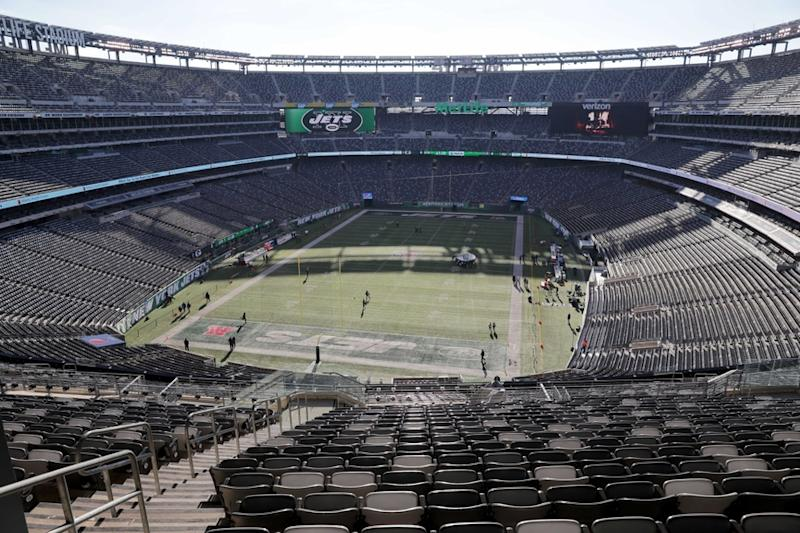 General view of MetLife Stadium with Jets end zones