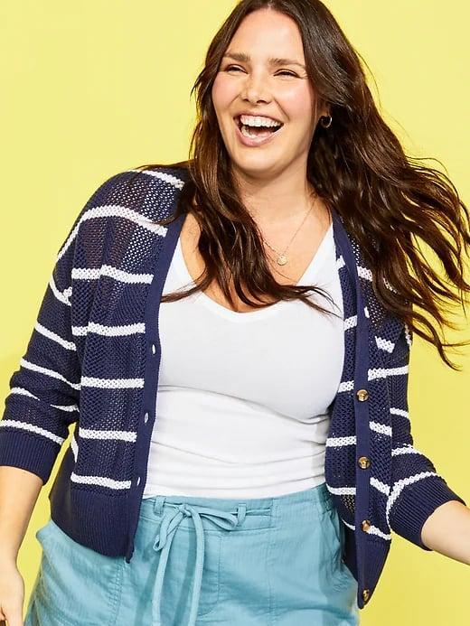 <p>Pair this navy striped <span>Old Navy Textured Open-Knit Button-Front Cardigan</span> ($13, originally $40) with twill pants, joggers, jeans, and more.</p>