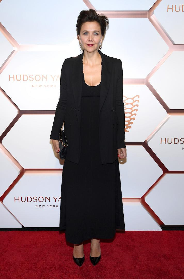 <p>Actress Maggie Gyllenhaal chose an all-black ensemble for the star-studded event finished with a punchy red lip. <em>[Photo: Getty]</em> </p>