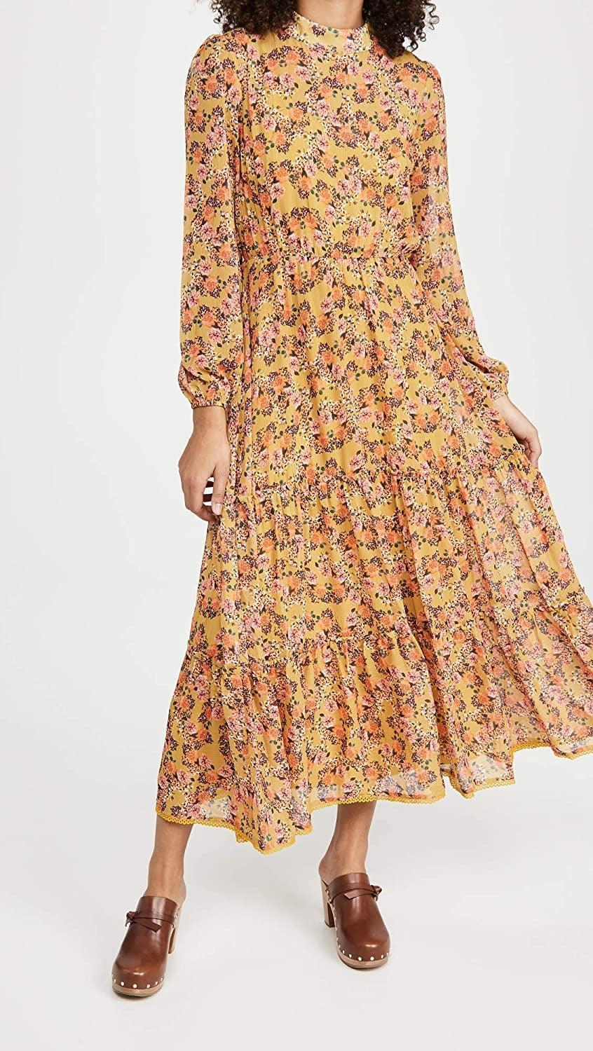 <p>Style this cute <span>Lost + Wander Gardens at Giverny Midi Dress</span> ($128) with loafers.</p>