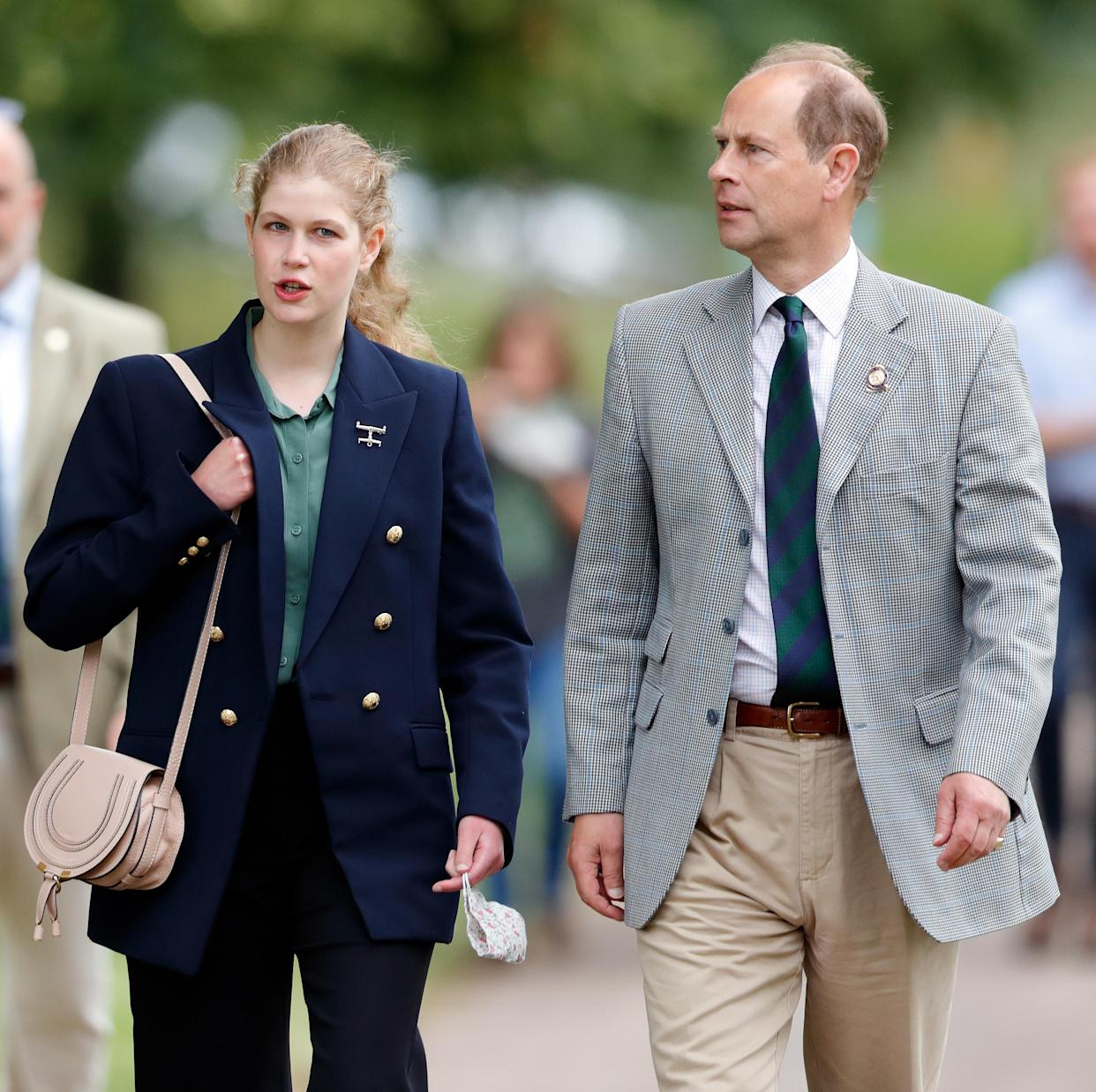 WINDSOR, UNITED KINGDOM - JULY 03: (EMBARGOED FOR PUBLICATION IN UK NEWSPAPERS UNTIL 24 HOURS AFTER CREATE DATE AND TIME) Lady Louise Windsor and Prince Edward, Earl of Wessex attend day 3 of the Royal Windsor Horse Show in Home Park, Windsor Castle on July 3, 2021 in Windsor, England. (Photo by Max Mumby/Indigo/Getty Images)