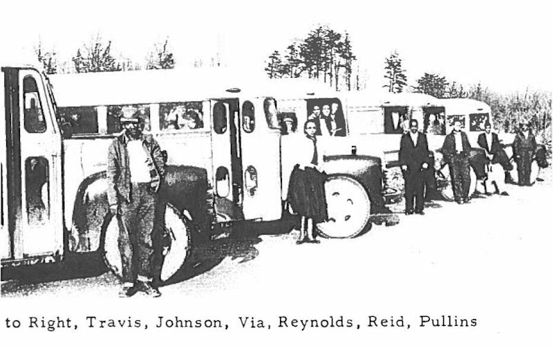 Elizabeth Barker Johnson and other members of the 6888th Battalion pose outside their trucks. (Credit: Shandra Bryant/6888th Central Postal Directory Battalion)
