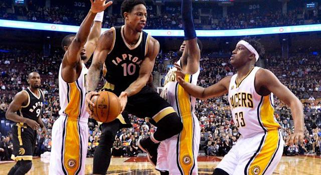 DeMar DeRozan scored 40 points against the Indiana Pacers on Friday night to move level with Vince Carter for the number of 30 points or more games in Raptors franchise history.