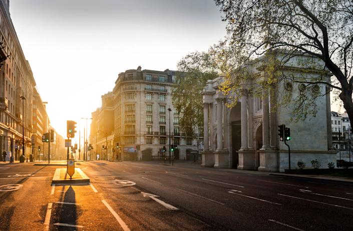 Looking east along Oxford Street from Marble Arch on April 16, 2020, in London.