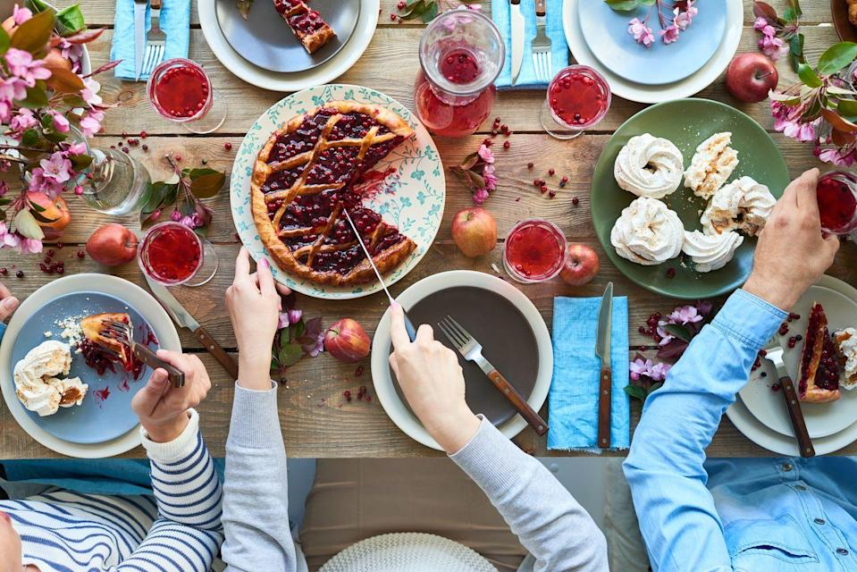 """<p>Instead of starving yourself until 3 p.m., start the day right (and expand your stomach a little!) with a pie breakfast. Invite guests to bring their favorites, or <a href=""""https://www.oprahmag.com/life/food/g28183294/best-fall-desserts/"""" rel=""""nofollow noopener"""" target=""""_blank"""" data-ylk=""""slk:try one of these killer recipes"""" class=""""link rapid-noclick-resp"""">try one of these killer recipes</a>.</p>"""