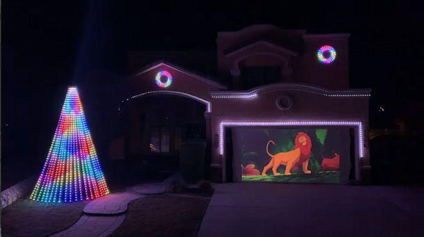PHOTO: An image made from video shows a preview of the holiday light show put together by Rick Carrillo in El Paso, Texas, for the 2019 holidays. The show took months to plan and includes clips from classic Disney films. (Courtesy Rick Carrillo)