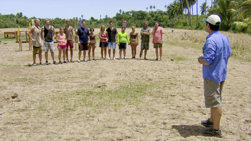 """Michael Skupin, Carter Williams, Denise Stapley, Lisa Whelchel, Abi-Maria Gomes and Malcolm Freberg along with family and friends in the """"Survivor: Philippines"""" episode, """"Shot into Smithereens."""""""