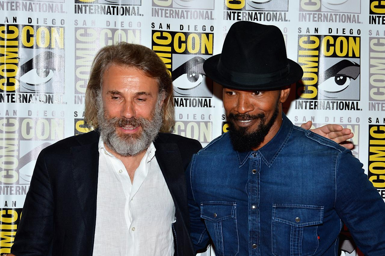 """SAN DIEGO, CA - JULY 14:  Actors Christoph Waltz and Jamie Foxx attend """"DJango Unchained"""" Press Line during Comic-Con International 2012 at Hilton San Diego Bayfront Hotel on July 14, 2012 in San Diego, California.  (Photo by Frazer Harrison/Getty Images)"""