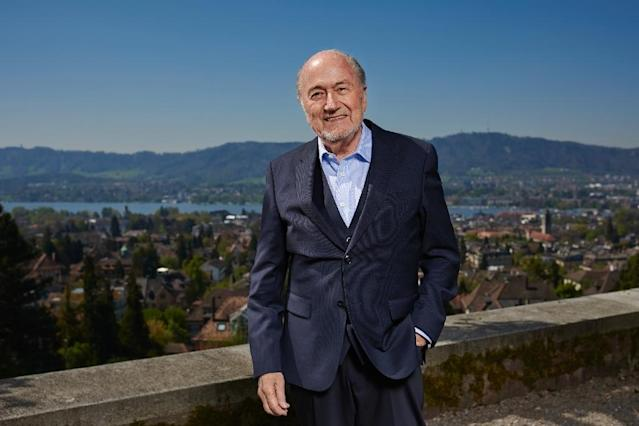 Former FIFA president Sepp Blatter poses during a photo session, past the city of Zurich, after an interview with news agencies on April 21, 2017 (AFP Photo/Michael Buholzer)