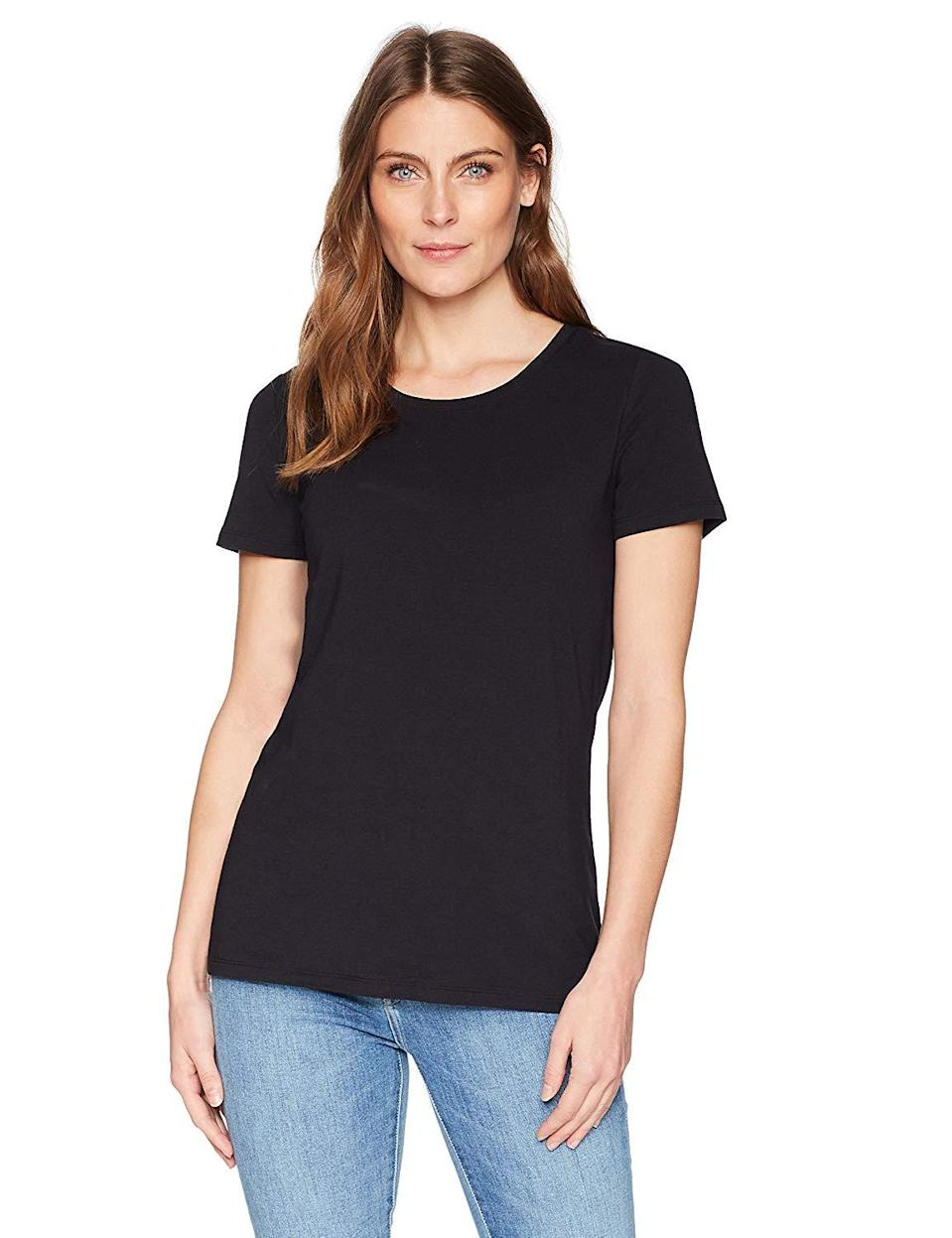 """<strong>The Made-For-Customers Tee</strong><br><br>Amazon started with customer reviews and feedback to create their wardrobe essentials line, so it's no surprise that most of the pieces in the offering are best-sellers — like this classic black T-shirt that's comfortable and soft.<br><br><strong>The Hype:</strong> 4.4 out of 5 stars on Amazon<br><br><strong>What They're Saying:</strong> """"I absolutely love them. I had read a lot of reviews, but I was still genuinely surprised at the quality of the material as soon as I opened the package. The material has some weight to it — doesn't feel cheap, thin or flimsy at all, and is soft to the touch."""" - Vi, Amazon Review<br><br><strong>Amazon Essentials</strong> 2-Pack Short-Sleeve Crewneck Solid T-Shirt, $, available at <a href=""""https://www.amazon.com/Amazon-Essentials-Short-Sleeve-Crewneck-T-Shirt/dp/B07762TMMM"""" rel=""""nofollow noopener"""" target=""""_blank"""" data-ylk=""""slk:Amazon"""" class=""""link rapid-noclick-resp"""">Amazon</a>"""