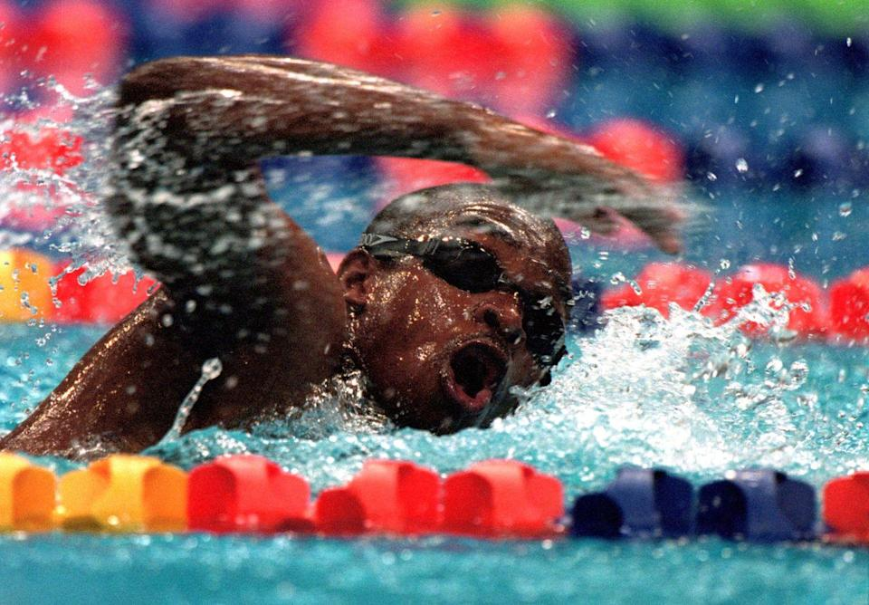 """<p>Eric ''the Eel'' Moussambani of Equatorial Guinea wasn't supposed to be an Olympian. He learned to swim just eight months before the games, and only qualified for the 100m freestyle via wildcard. But the two competitors in his heat got disqualified, so he <a href=""""https://www.youtube.com/watch?v=8rqI8xwXVac"""" rel=""""nofollow noopener"""" target=""""_blank"""" data-ylk=""""slk:awkwardly flailed"""" class=""""link rapid-noclick-resp"""">awkwardly flailed</a> his way across the finish line alone, setting the record for slowest Olympic time. Everyone cheered wildly. </p>"""