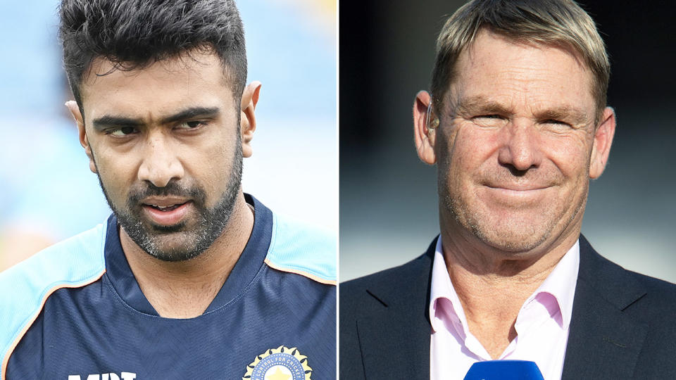 Ravi Ashwin and Shane Warne, pictured here on the cricket field.