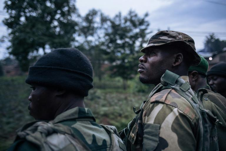 Congolese soldiers on patrol in the high-risk Beni region