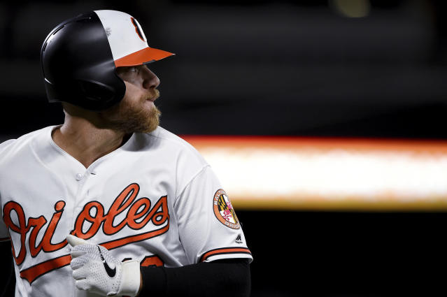 Baltimore Orioles Chris Davis heads back to the dugout after flying out in the ninth inning of the team's baseball game against the Oakland Athletics, Wednesday, April 10, 2019, in Baltimore. (AP Photo/Will Newton)