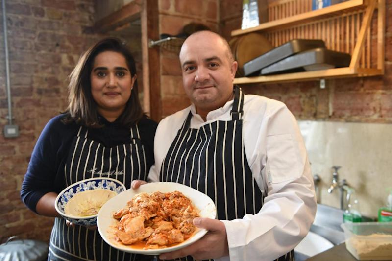 Volunteers: Imad with helper Samia Khan, left, - from The Hampstead Kitchen (Jeremy Selwyn)