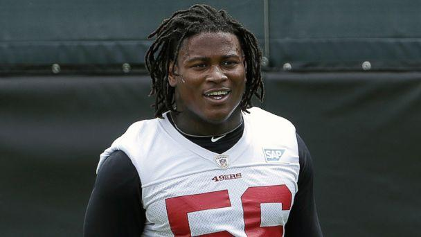 PHOTO: San Francisco 49ers linebacker Reuben Foster walks on the field during a practice at the team's NFL football training facility in Santa Clara, Calif., May 30, 2018.  (Jeff Chiu/AP, FILE)