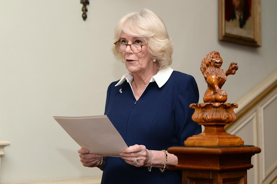 LONDON, ENGLAND - FEBRUARY 12: Camilla, Duchess of Cornwall speaks during a reception to acknowledge the 15th anniversary of domestic abuse charity SafeLives at Clarence House on February 12, 2020 in London, England.  (Photo by Eamonn M. McCormack/Getty Images)