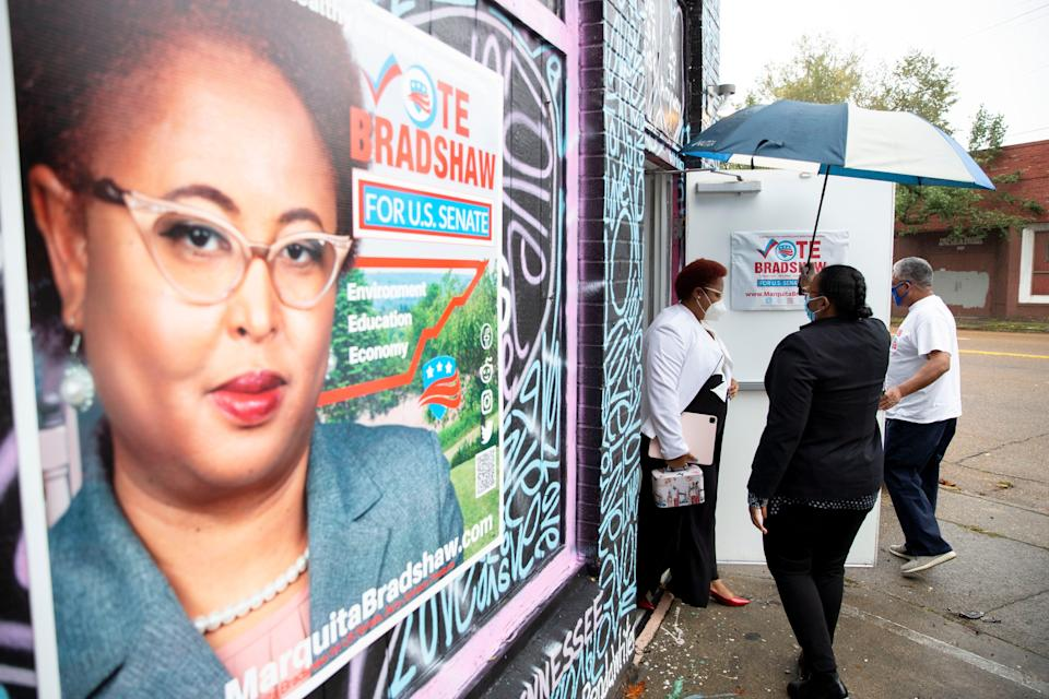 U.S. Senate candidate Marquita Bradshaw leaves her election headquarters on Lamar Avenue to vote Oct. 29, 2020, in Memphis, Tennessee.