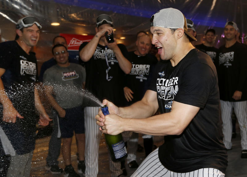 NEW YORK, NEW YORK - SEPTEMBER 19: Tommy Kahnle #48 of the New York Yankees celebrates after the New York Yankees clinched the Americal League Division title with the 9-1 win over the Los Angeles Angels at Yankee Stadium on September 19, 2019 in Bronx borough of New York City. (Photo by Elsa/Getty Images)