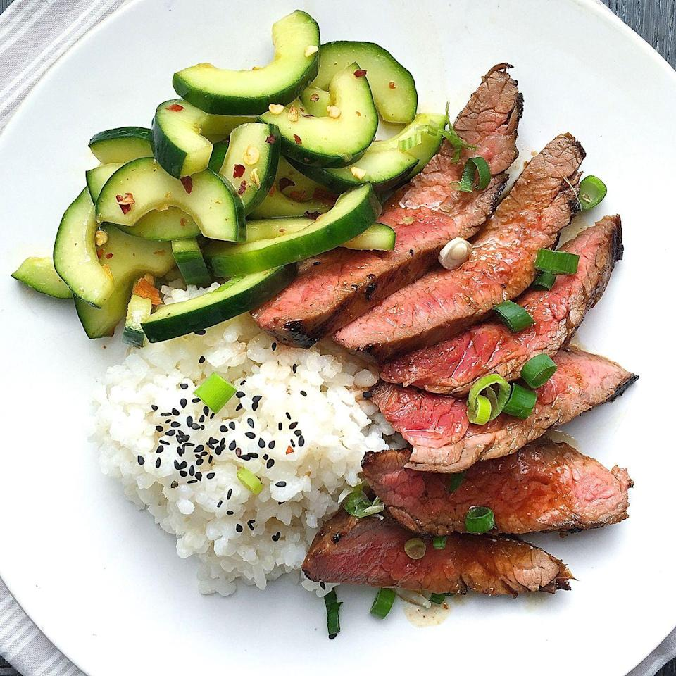 """<p>This Korean-inspired marinade makes magic with soy sauce, rice vinegar, and Sriracha.</p><p>Get the recipe from <a href=""""https://www.delish.com/cooking/recipe-ideas/recipes/a43061/best-grilled-flank-steak-recipe/"""" rel=""""nofollow noopener"""" target=""""_blank"""" data-ylk=""""slk:Delish"""" class=""""link rapid-noclick-resp"""">Delish</a>.</p>"""
