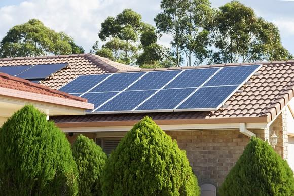Residential rooftop with solar.