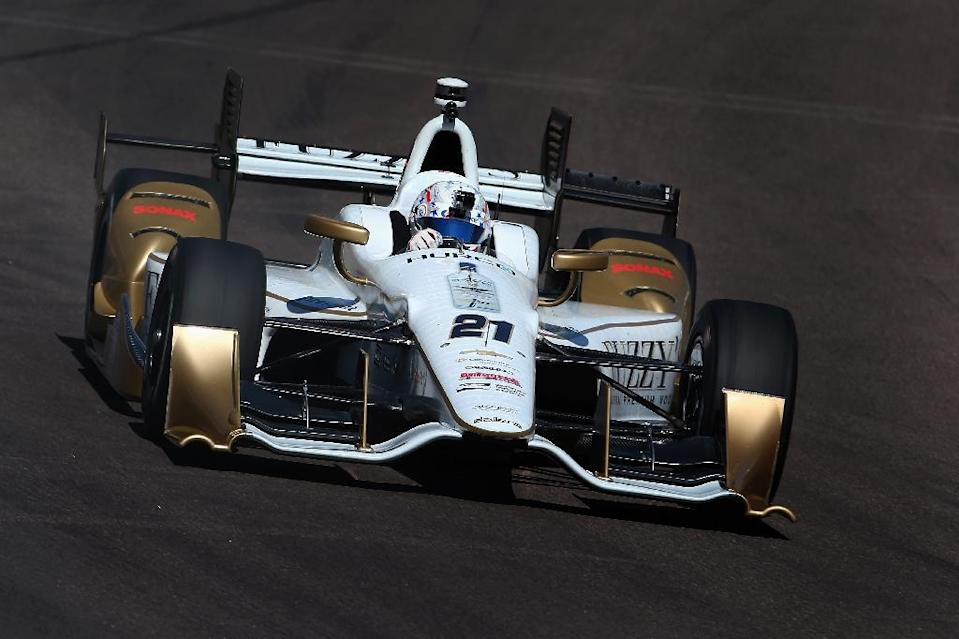 Americans Josef Newgarden (pictured) and Ryan Hunter-Reay join Canadian James Hinchcliffe on the front row for the start of the 100th running of the Indianapolis 500 (AFP Photo/Christian Petersen)