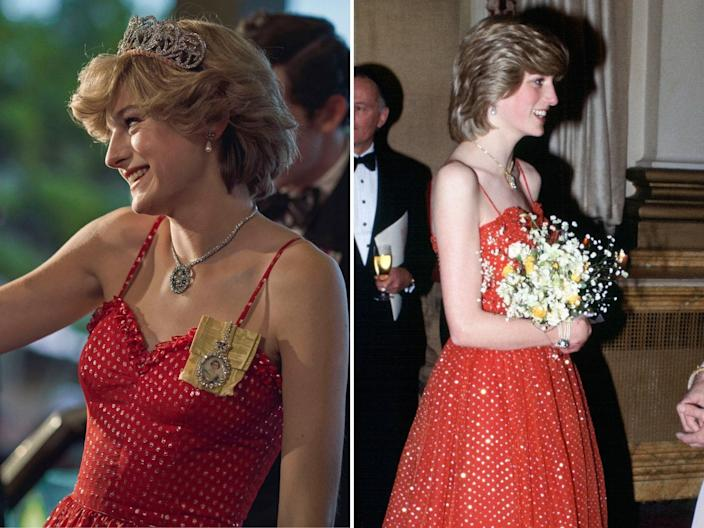 princess diana the crown real life outfits compared to emma corrin