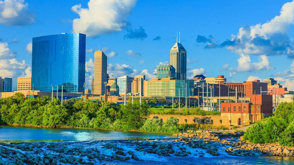 Indianapolis skyline with the White River, Indiana.