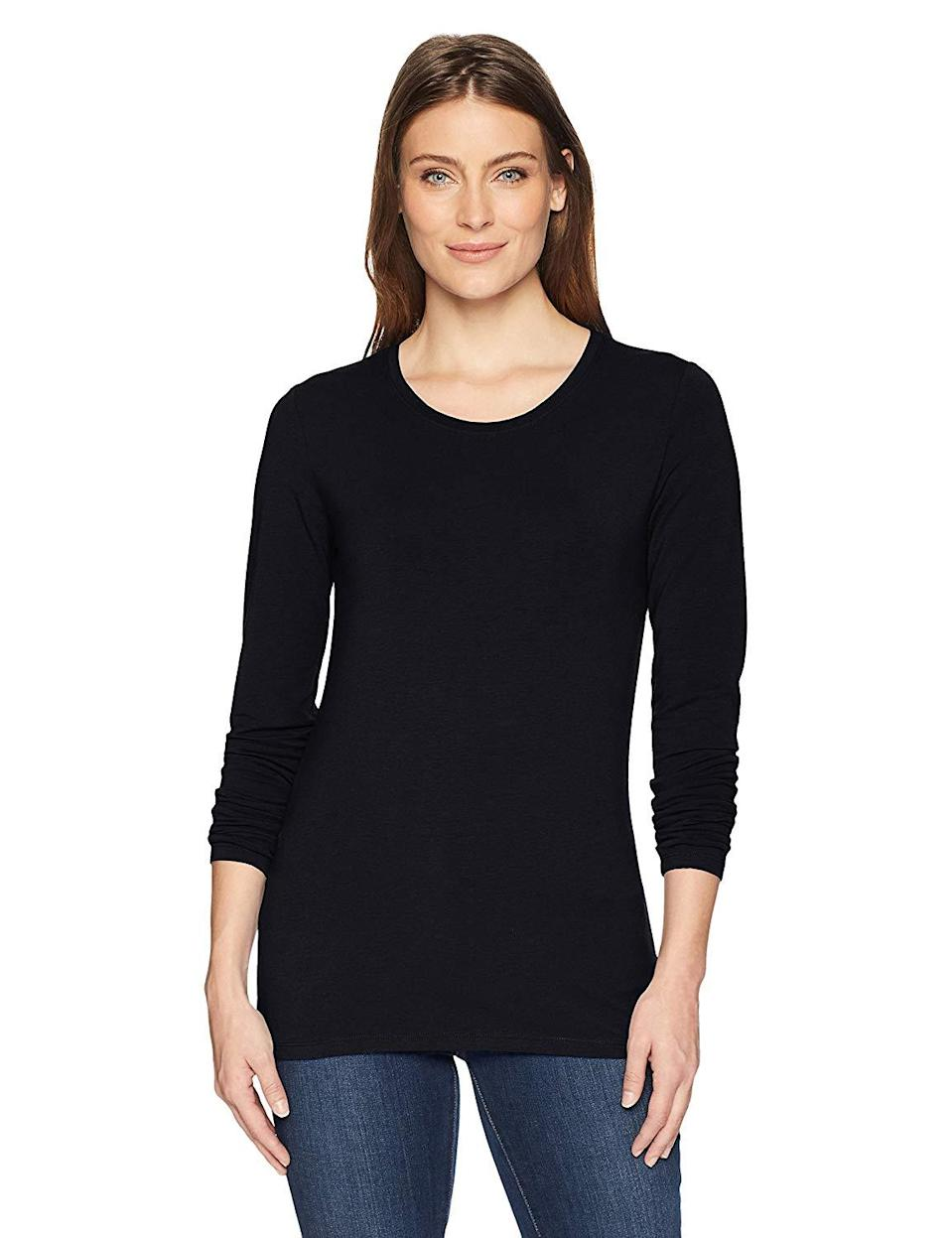 """<h3><a href=""""https://amzn.to/2SEGz2r"""" rel=""""nofollow noopener"""" target=""""_blank"""" data-ylk=""""slk:Cotton Long-Sleeve Tee"""" class=""""link rapid-noclick-resp"""">Cotton Long-Sleeve Tee</a> </h3><br><strong>Rose</strong><br><br><strong>How She Discovered It:</strong> """"I was browsing through Amazon and saw it.""""<br><br><strong>Why It's A Hidden Gem:</strong> """"It's SUCH a good quality shirt for every day. It's super soft and I wear it practically every day with leggings and it never stretches out or wears.""""<br><br><strong>Amazon Essentials</strong> Women's Long-Sleeve T-Shirt, $, available at <a href=""""https://www.amazon.com/Amazon-Essentials-Womens-Long-Sleeve-T-Shirt/dp/B079HLTJ88/ref=redir_mobile_desktop"""" rel=""""nofollow noopener"""" target=""""_blank"""" data-ylk=""""slk:Amazon"""" class=""""link rapid-noclick-resp"""">Amazon</a>"""