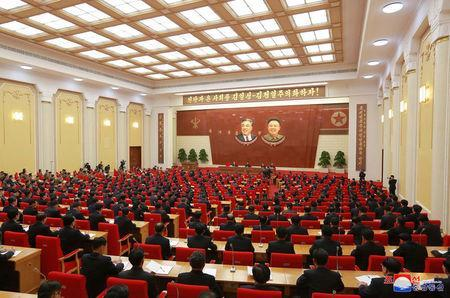 Attendees at the Third Plenary Meeting of the Seventh Central Committee of the Workers' Party of Korea (WPK), guided by North Korean leader Kim Jong Un, in this photo released by North Korea's Korean Central News Agency (KCNA) in Pyongyang on April 20, 2018. KCNA/via Reuters ATTENTION EDITORS - THIS IMAGE WAS PROVIDED BY A THIRD PARTY. REUTERS IS UNABLE TO INDEPENDENTLY VERIFY THIS IMAGE. NO THIRD PARTY SALES. NOT FOR USE BY REUTERS THIRD PARTY DISTRIBUTORS. SOUTH KOREA OUT.