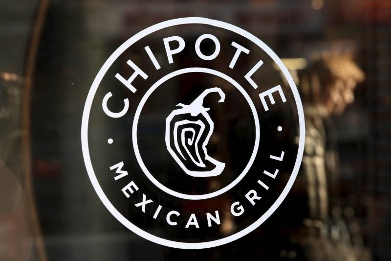 A Chipotle logo is seen on a store entrance in Manhattan, New York
