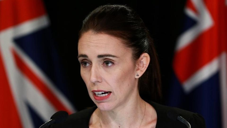 Prime Minister Jacinda Ardern gives a speech in March