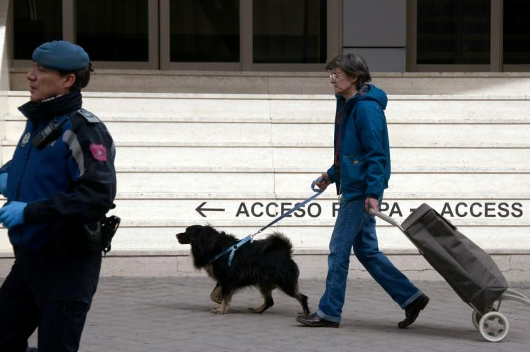 Have dog, will travel -- a canine companion helps this woman as she rushes out to load her shopping trolley in Madrid