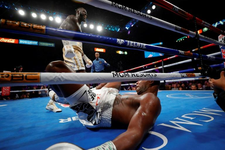 WBC heavyweight champion Deontay Wilder knocks out Luis Ortiz in the seventh round of their title fight at MGM Grand Garden Arena
