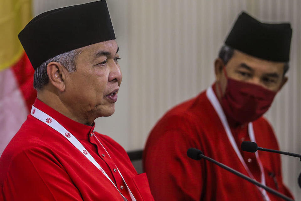 Umno president Datuk Seri Ahmad Zahid Hamidi said the decision was not merely a resolution from the party's supreme working council but born of a voice at the grassroots level at the 2020 Umno General Assembly. ― Picture by Hari Anggara