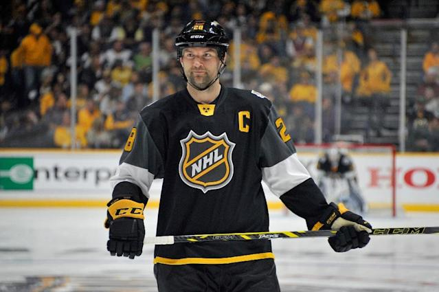 John Scott looks on during the 2016 All-Star Final Game between the Eastern Conference and the Western Conference in Nashville, Tennessee (Frederick Breedon/AFP Photo/)