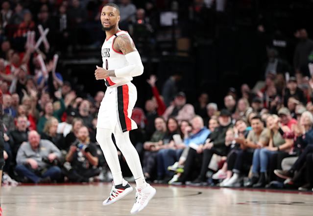 """<a class=""""link rapid-noclick-resp"""" href=""""/nba/teams/portland/"""" data-ylk=""""slk:Portland Trail Blazers"""">Portland Trail Blazers</a> point guard Damian Lillard scored 51 points in Saturday's win over the Utah Jazz. (Photo by Abbie Parr/Getty Images)"""